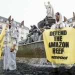 French fountains site of protest against Total's Brazil oil project
