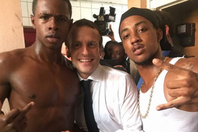 What's the story? Macron's photo with former convict giving middle finger