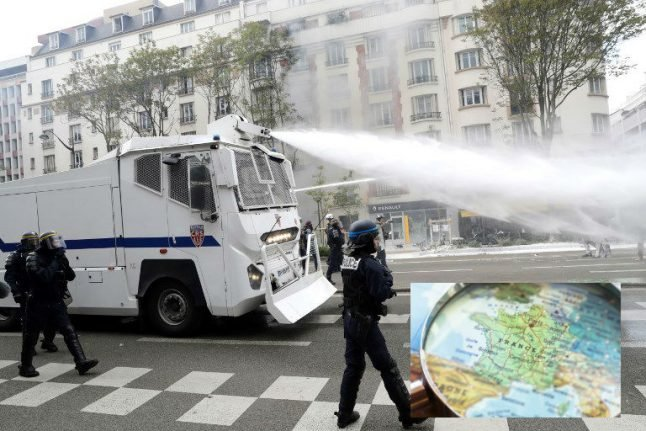 A Glance around France: Animal bones in Paris police water canons and an earthquake in the Alps