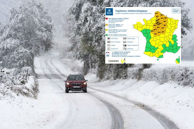 Snow arrives in northern France with swathes of country on alert