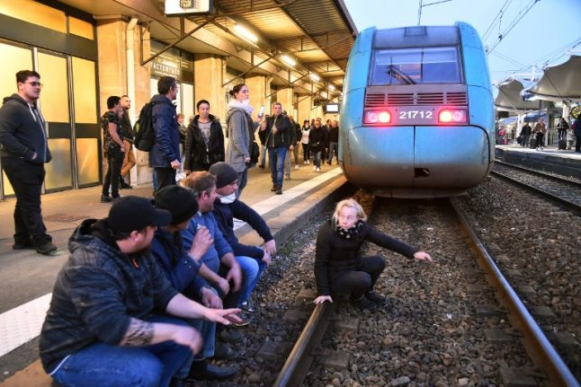 Train services between Paris and south west France halted after protesters block tracks