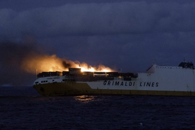 Italian cargo ship sinks off France's Atlantic coast after going up in flames