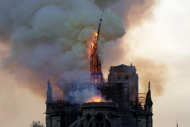 VIDEO: Watch the moment Notre-Dame's spire collapses