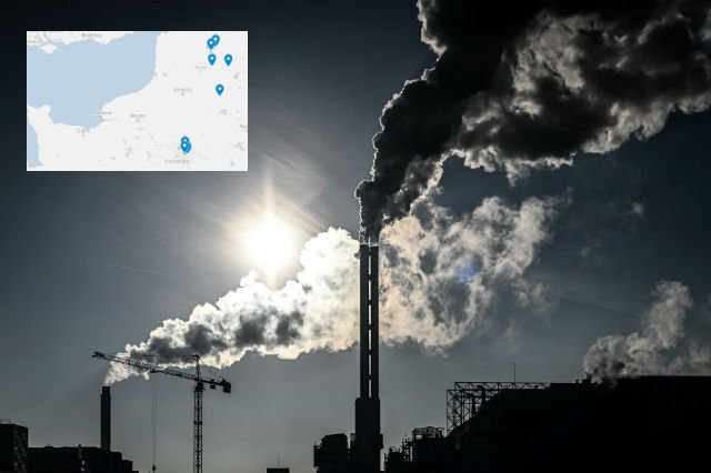 What are the ten towns with the worst air pollution in France?