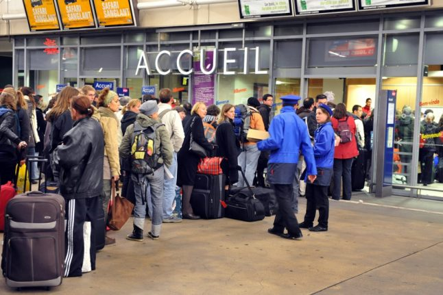 Why are queues being timed at French train stations this week?