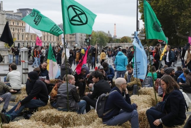 Second day of occupation by climate change activists in centre of Paris