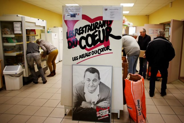 Who are 'Les Restos du Cœur' and why are they collecting in French supermarkets?