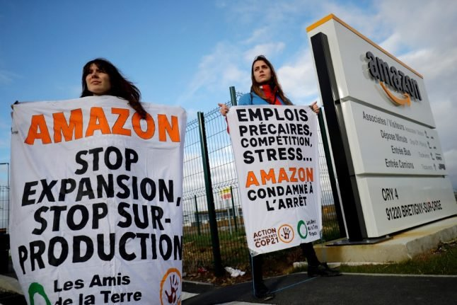 French activists block Amazon warehouse in Black Friday protest