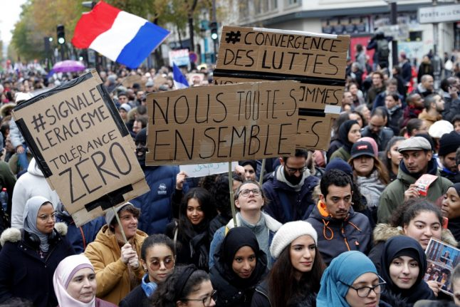 In pictures: Thousands march in Paris against Islamophobia