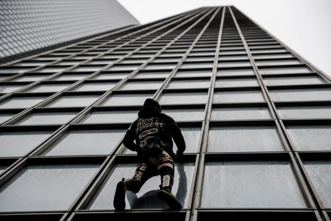 IN PICTURES: French 'Spiderman' climber stages his own one-man pension protest