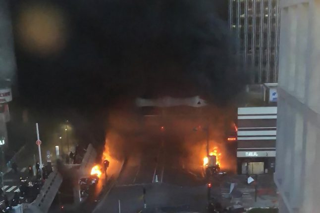 Fire breaks out near central Paris train station after violent protests