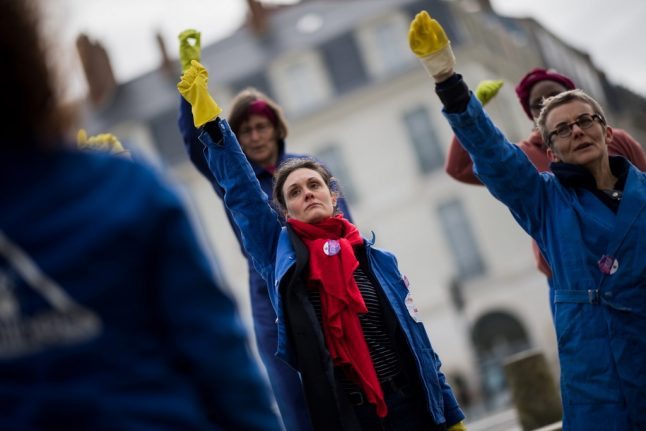 Outrage over videos of French police clashing with women on feminist march