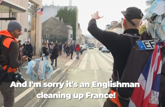 VIDEO: French-British duo walk 880km picking up face mask litter