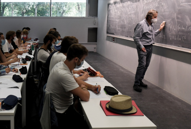 Students at Paris-Saclay University. Students in France spend a lot of time in the classroom.